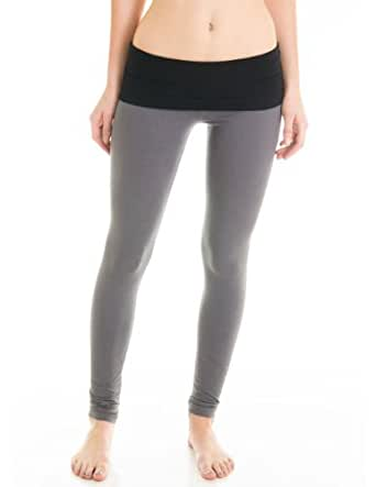 Casual Cotton Spandex Fold Over Waist Leggings Junior Sizing (Juniors Small, Charcoal/Black)