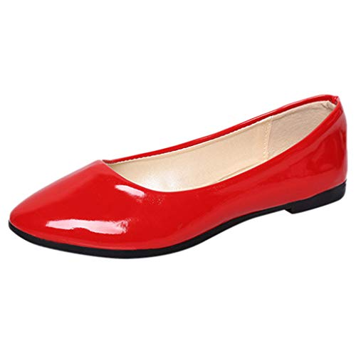 JUSTWIN Women's Casual Ankle Flat Loafers Slip On Flock Solid Color Flat Shoes Pointed Single Loafers Shoes Red