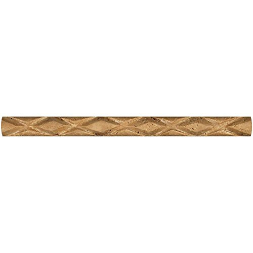Honed Noce Travertine Diamond Rope Liner, 1 x 12