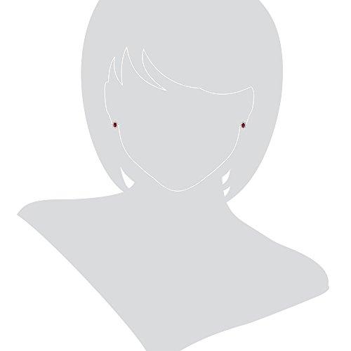 Gioiello ItalianoBoucles d'oreilles en or blanc avec zircons rouges et blancs