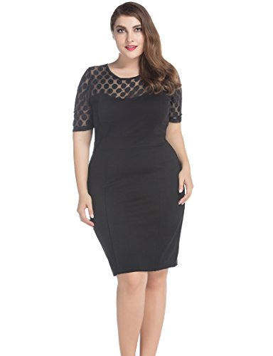 Chicwe Women's Plus Size NR Ponte Shift Dress with Jacquard Lace Top 26 Black - Church Jacket Dress
