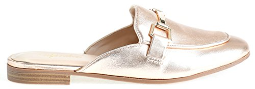 Lusthave Womens Gold Plated Slide On Slip On Mule Loafer Flats Shoes Dark Penny Pu