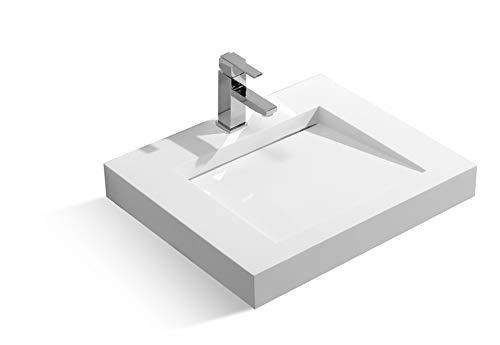 Kingsman Stone Resin Series Solid Surface Modern Bathroom Vanity Vessel Sink (LINEAR)