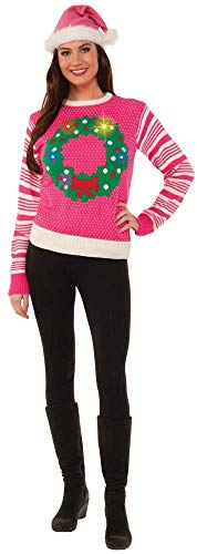 Forum Women's Light Up Wreath Ugly Christmas Sweater, Pink, Large