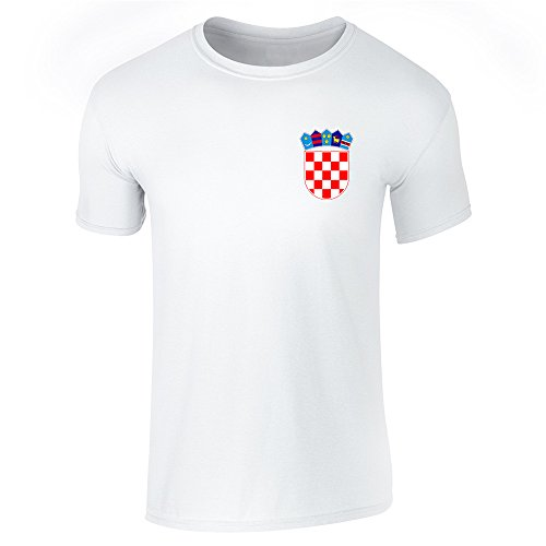 Pop Threads Croatia Soccer Retro National Team White M Short Sleeve T-Shirt