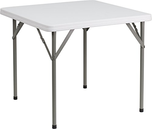 Flash Furniture 34'' Square Granite White Plastic Folding Table - Square Corner Table Seating