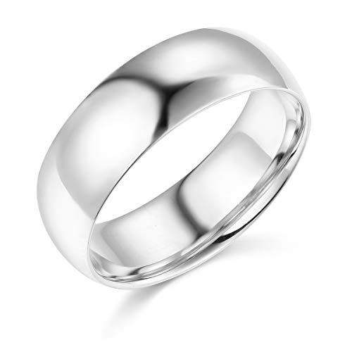 (Wellingsale Mens 14k White Gold Solid 7mm COMFORT FIT Traditional Wedding Band Ring - Size 7.5)