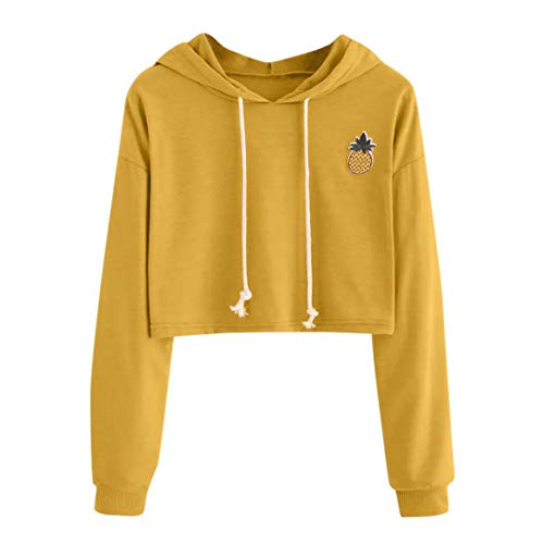 Sunhusing Ladies Fashion Pineapple Applique Short Hooded Sweater Solid Color Drawstring Pullover Yellow ()
