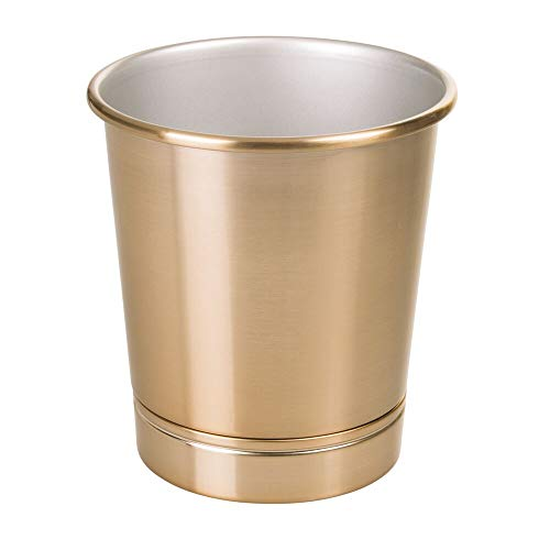 (mDesign Decorative Round Metal Small Trash Can Wastebasket Organizer, Garbage Container Bin for Bathrooms, Kitchens, Home Offices - Soft Brass )
