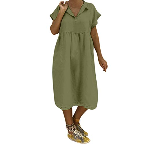 MILIMIEYIK Blouse Womens Plus Size Maxi Dresses Turn-Down Collar Casual Summer Short Sleeve Long Dress Split Plain Green