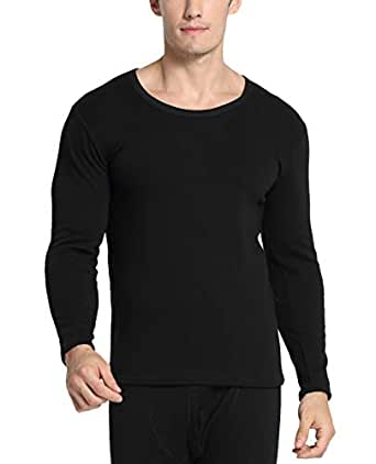 Men Breathable Thermal Underwear Set Casual Colorfast Heat Base Layer Crewneck Long Top Black 3XL