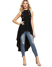 Floerns - Blusa asimétrica sin Mangas con Doble botón y Cuello Redondo para Mujer