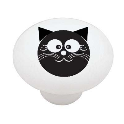 Happy Black Cat High Gloss Ceramic Drawer Knob Decoration Sensation