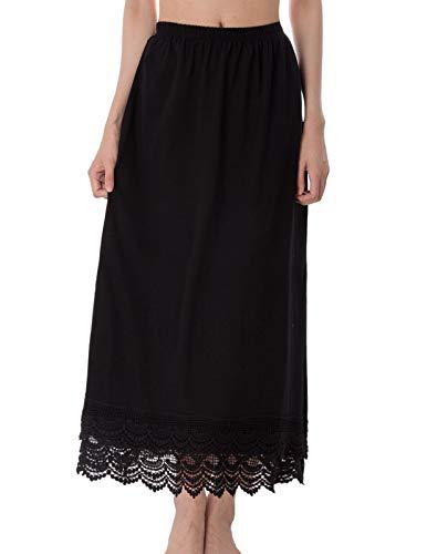 Ladies Cotton Slips - GRACE KARIN Cotton Underskirt Double Layered Lace Skirt Extender Half Slip(L,Black)