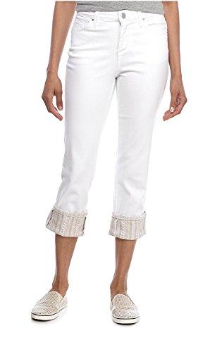 Bandolino Women's Millie Curvy Slim Leg Cuffed Capri, White (10)