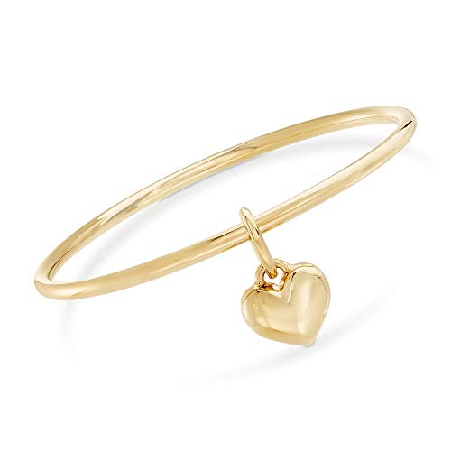 Gold Italian Heart - Ross-Simons Certified Italian Andiamo 14kt Yellow Gold Heart Charm Bangle Bracelet