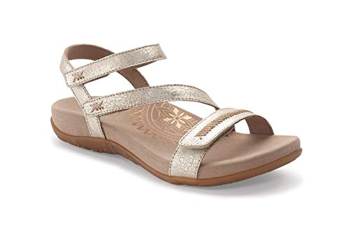 Aetrex Gabby Womens Adjustable Quarter Strap Orthotic Sandals - Gold - 40 (US ()