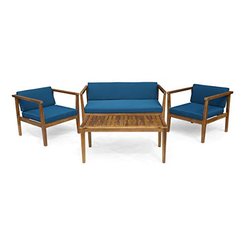 Great Deal Furniture Maddox Outdoor 4-Seater Acacia Wood Chat Set with Coffee Table, Teak and Dark ()