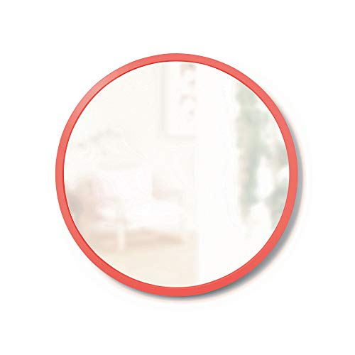 Umbra, Coral Hub Rubber Frame-18-Inch Round Mirror for Entryways, Bathrooms, Living Rooms -