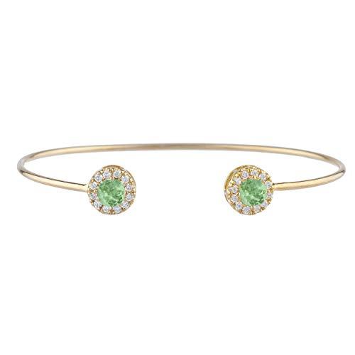 1 Ct Green Sapphire Halo Design Bangle Bracelet 14Kt Yellow Gold Rose Gold Silver