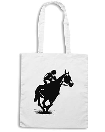 Borsa Shopper Bianca WES0608 GIANT BIG HORSE RACING JOCKEY