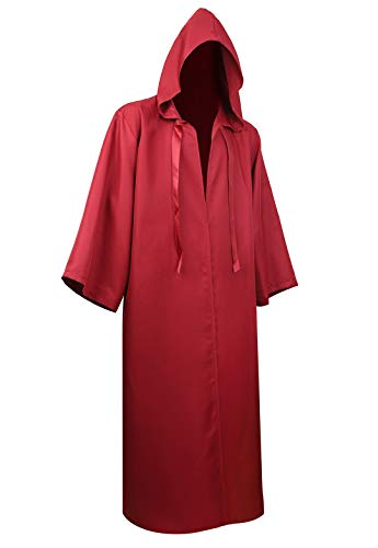 Full Length Unisex Tunic Hooded Robe Cloak Adult Halloween Costume Cosplay Capes Wine Red2XL -