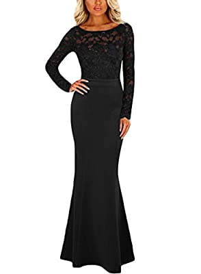 Chase Secret Womens Lace Long Sleeve Bow Back Elegant Evening Gown Fishail Maxi Dress
