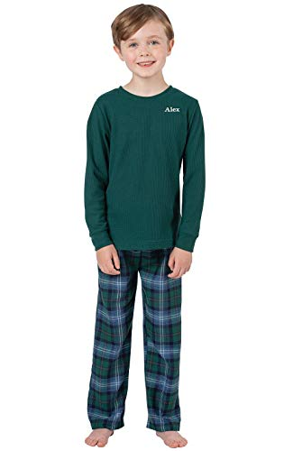 7889778421 PajamaGram Big Boys  Flannel Classic Plaid Pajamas with Long-Sleeved Top