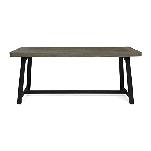 Christopher Knight Home Toby Outdoor Acacia Wood Dining Table, Sandblast Gray Finish and Black