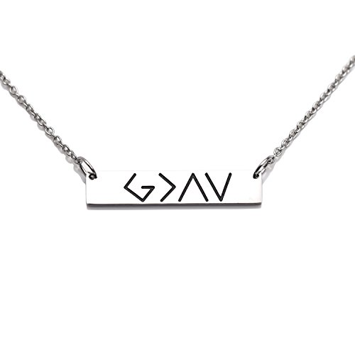 LParkin God is Greater Than The Highs and Lows Bar Necklace (Necklace) -