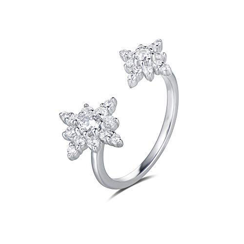 Starburst Adjustable Ring - FANCIME 14K White Gold Plated Cubic Zirconia CZ Adjustable Open Starburst Ring Fashion Jewelry for Women Girls Teens, Size 7