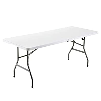 SHELVING SOLUTION Folding Utility Table, 6ft Fold-in-Half Portable Plastic Picnic Party Dining Camp Table (White)