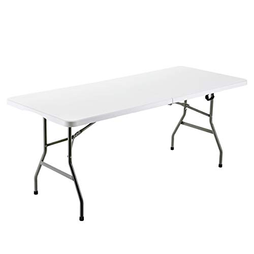 FORUP 6ft Table, Folding Utility Table, Fold-in-Half Portable Plastic Picnic Party Dining Camp Table (White) (Table High Plastic)