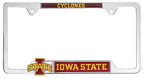 Premium All Metal NCAA Mascot License Plate Frame w/ 3D Logos (Iowa State) (Iowa University Frame State)