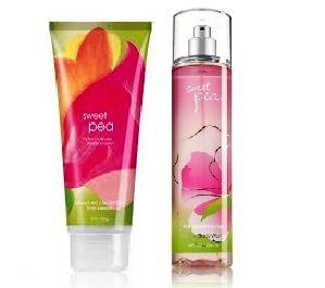 Bath & Body Works Signature Collection SWEET PEA Gift Set Triple Moisture Body Cream & Fragrance Mist