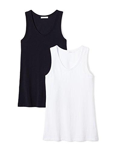 - Daily Ritual Women's Stretch Supima Cotton Racerback Tank Top, White/Navy, Medium