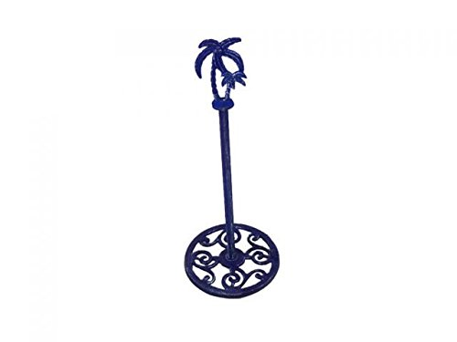 Handcrafted Model Ships K-9213-Solid-Dark-Blue 17 in. Cast Iron Palm Tree Paper Towel Holder44; Rustic Dark Blue