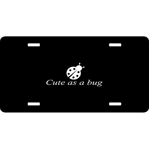 Cute As Bug Ladybug Kids Room Nursery Baby Girl Wall Luv Custom License Plate Cover Aluminum - Decorative Auto Car Front License Plates, Vanity Tag Sign, 6 x 12 Inch