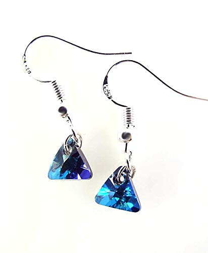 Teal Blue Triangle Earrings made with Xillion Crystals by Swarovski Sterling Silver Ear Wires