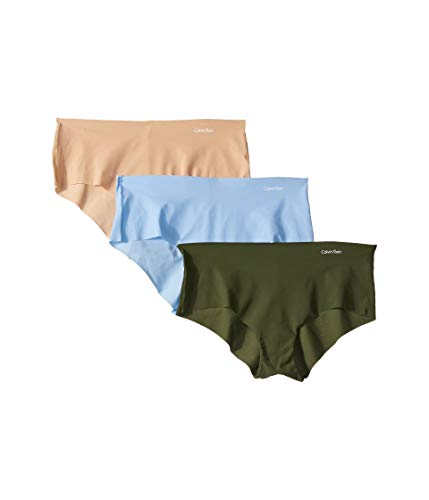 Calvin Klein Women's Invisibles No Panty Line Hipster Multipack, Sensory Blue/Duffel Bag/Bare, M (Edge Klein Calvin Seamless)