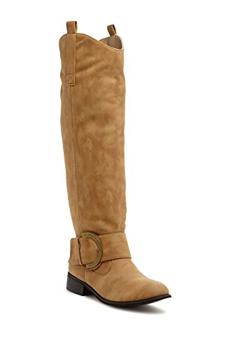 Pull High Riding Albert Tan Tabs Boot Up Light Charles Buckle with Women's Knee and fWOxn4z