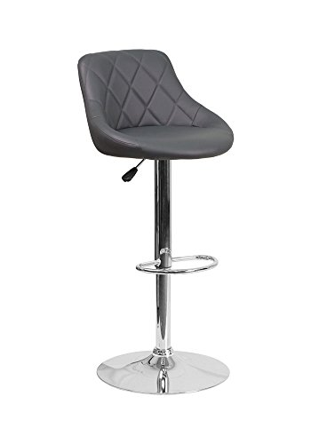- Offex Contemporary Vinyl Bucket Seat Adjustable Height Barstool with Chrome Base - Gray