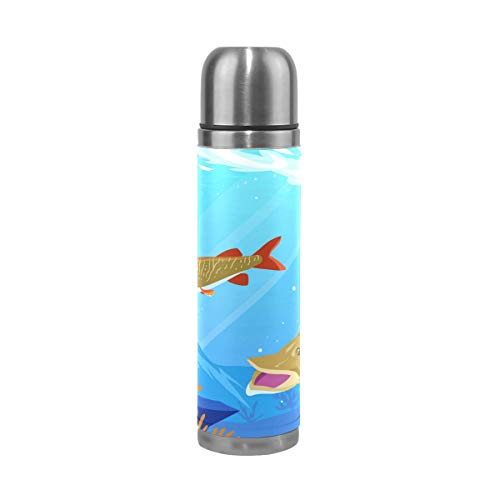 imobaby Muskie in The Lake Leak Proof Water Bottle Insulated Double Vacuum Stainless Steel Thermos 500ML by imobaby