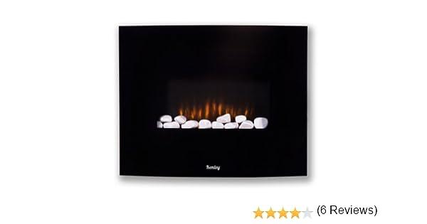 Kenley Chimenea Electrica de Pared - Efecto Llama Ardiendo - Radiador Calefactor con Termostato / Mando a Distancia / Guijarros Blancos - Negro - 1,5KW: ...