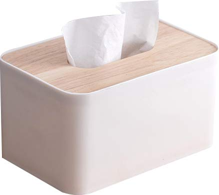 (Cq acrylic Modern Square Plastic Paper Facial Tissue Box Cover Holder for Bathroom Vanity Countertops,Bedroom Dressers,Night Stands,Desks and Tables-1 Pack-White)