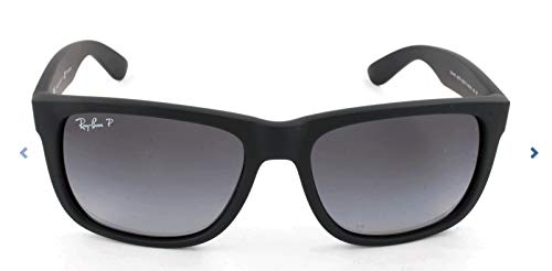 Ray-Ban RB4165 Justin Rectangular Sunglasses, Black Rubber/Polarized Grey Gradient, 55 ()