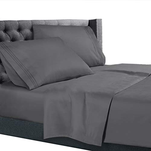 Nestl Bedding 4 Piece Sheet Set - 1800 Deep Pocket Bed Sheet Set - Hotel Luxury Double Brushed Microfiber Sheets - Deep Pocket Fitted Sheet, Flat Sheet, Pillow Cases, Queen - Gray