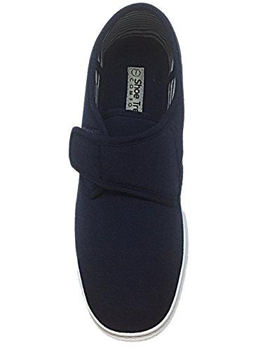 Hombre Kevin Shoe Tree Corte Ancho De Lona Casual Cierre De Velcro Zapato De Tacón Zapatillas Zapatos Náuticos Mocasín Talla Eu 34-40 - hombre, Azul Marino, 43 EU
