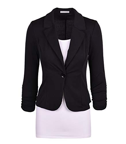 (Auliné Collection Women's Casual Work Solid Color Knit Blazer Black Large)