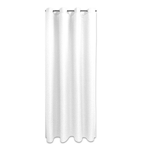 JEMIDI Ösenschal Blickdicht 140cm x 245cm Ösen Schal Gardine Vorhang Fenster Deco Öse Schlaufen (Weiss)